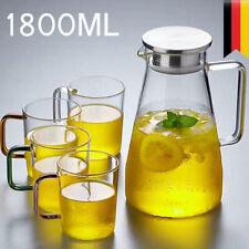 Glaskaraffe Wasserkaraffe 1,5 L Karaffe Wasser Wasserkrug mit Edelstahlausgießer