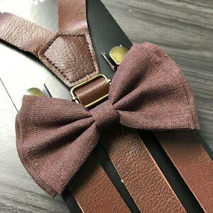 Dk Brown Wide Faux Leather Suspender+Canvas Bow-Tie MatchingSet Adults Men Women