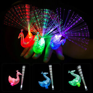 5pcs Peacock Light Up Finger Ring Laser LED Glow In Dark Stick Party Kids' Toys