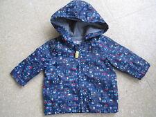TU boys blue showerproof jacket vehicles hood fleece lined worn once - 0-3mths