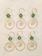 "Goldtone Metal w Green Bead 2 1/2"" Twisted Hook Ornament Hangers - Lot of 6"