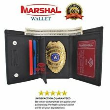 Genuine Leather RFID Blocking Police Badge Holder Trifold Wallet Black with Snap