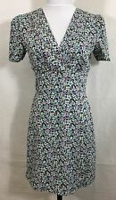 Awear Ashley Wrap Dress Womans Small Print Floral Blue Exposed Zipper Retro