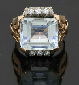 Antique 14K YG 9.36CT VS diamond & 12 x 14mm aquamarine cocktail ring size 8