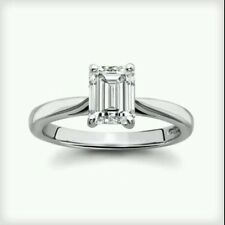 1carat Emerald Cut Solitaire Engagement Wedding Ring  Solid 14k Real White Gold