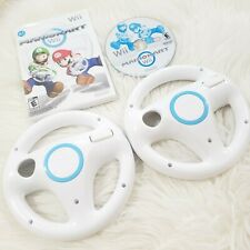 Mario Kart Wii Game With 2 Steering Wheel Controllers Clean & Working perfectly!