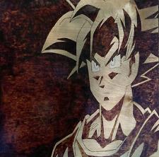 "Dragon Ball Z Goku DBZ One of a Kind Wood Burned Wall Hanging 12"" by 12"""