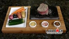 LR001 Lava Rock Stone with side dish and 3 condiment dishes