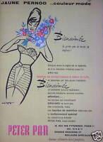 PUBLICITÉ 1959 PETER PAN SOUTIEN GORGE ET GAINE CULOTTE - ADVERTISING