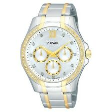 New Pulsar PP6100 Women's Watch Two-Tone Chronograph with Swarovski Crystals
