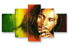 Quadro Moderno 5 pz. BOB MARLEY cm 150x90 arredamento stampa su tela reggae