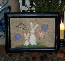 Primitive Bunny Rabbit Flower Stitchery Paper Pattern #577