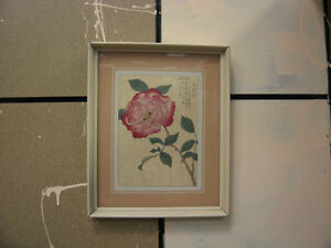 Antique Japanese Kono Bairei Woodblock Print of Rose