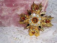 Exquisite JOAN RIVERS TOPAZ Brooch w/Brilliant Stones & Crystals NEW FINAL SALE