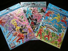 Power Rangers 6 x A4 Sheets of Shiny Foil Stickers (419B) Party Bags Stocking