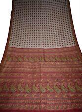 Vintage Printed Saree Beige Pure Silk Floral/Peacock Sari Print Design Craft