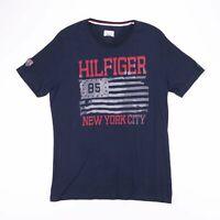 TOMMY HILFIGER New York City USA Big Logo Blue T-Shirt Size Men's Large