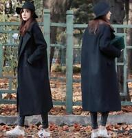Women Lapel Wool Blend Double Breasted Long Trench Overcoat Outwear Coat Jacket