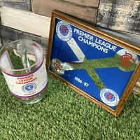 VTG 1986/87 Glasgow Rangers Small Bar Mirror & Signature Pub Pint Glass Man Cave