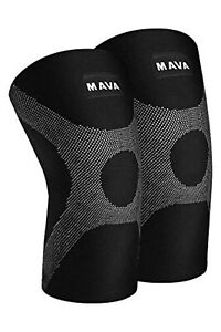 XXL Knee Compression Sleeves Support Joint Protection Pair Unisex Black/Gray New