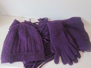 Next Hat, scarf, gloves, purple, unused