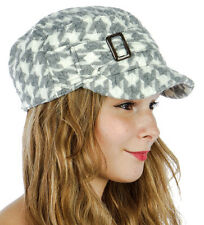 Knit Houndstooth Cadet Hat Women's Fall/Winter Buckle Accent Gray