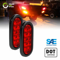 "2pc DOT Submersible Red 6"" Oval LED Trailer Tail Light Kit w/ Grommet & Plug"