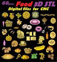 Food vegetables fruits 60 pcs. STL relief 3d model relief for cnc in STL file