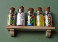 DOLLS HOUSE 5 JARS OF  DISPLAY SWEETS WITH **FREE**  WOODED SHELF