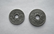 1918, 1921 5 CENTIMES FRANCE COINS KM865, KM875