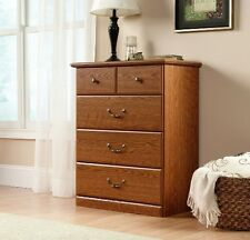 Chest Of Drawers Oak Finish 4 Drawer Dresser Wood Sturdy Solid Clothes Bedroom