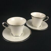 Set of 2 VTG Footed Cups and Saucers Lenox Moonspun White Floral Platinum USA