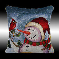 VINTAGE BLUE CHRISTMAS SNOWMAN TAPESTRY THROW PILLOW CASE CUSHION COVER 17""