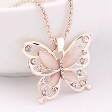 Damen Kristall Strass Schmetterling Anhänger Kette Schmuck Halskette Rose NEU
