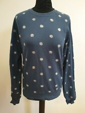 EE328 WOMENS PENGUIN BLUE WHITE DOTTED COTTON CREW NECK JUMPER UK S 8-10