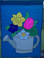 Vintage New Watering Can with Flowers 28 x 40 Large Garden Decorative Flag