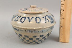 19thC Antique BOVOX Essence of Beef, Strength Drink, Whites Utica Stoneware Jar