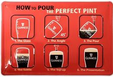GUINNESS- HOW TO  POUR PERFECT PINT- METAL 3D ADVERTISING SIGN 30X20cm IRISH BAR