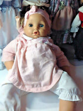 """Geoffrey Doll 19"""" Cries 2001 Vintage Pink Checked 2 Pic W Pacifier Dt6"""