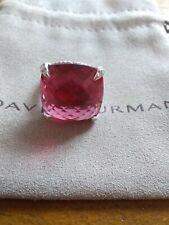 David Yurman Sterling Silver 20mm chatelaine ring pink tourmaline and diamonds