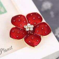 Hot Red Enamel Flower Poppy Brooch Pins For Women Banquet Remembrance Gifts