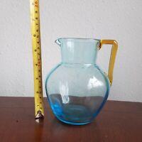 "BLENKO Art Glass Ice Blue 6"" PITCHER w/ Topaz Wheat handle"