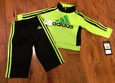 NWT Adidas Baby Boys 9M Tricot Zip Track Suit Jacket Pant Set Neon Green