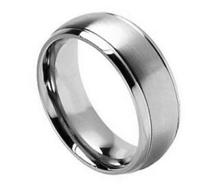 Free Engraving - 8mm Titanium Step Edge Brush Center Wedding Band Ring