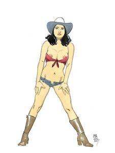 Sexy Cow Girl fantasy pin up original color  art  by Paradis