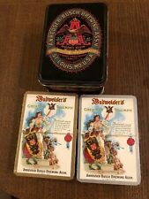 Anheuser Busch Budweiser Sealed Double Deck Playing Cards In Tin (C3)