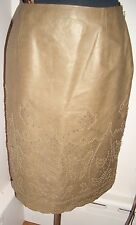 CARLISLE Perforated Leather Beaded Skirt  Size 8 6