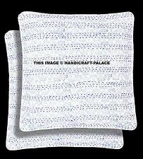 "Indian Kantha Stitched Cotton Cushion Cover Ikat Design Pillow Case Set 2 PC 16"""
