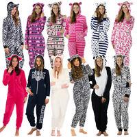Damen Jumpsuit Overall Loungewear Pyjama Einteiler Onesie Strampler Schlafanzug