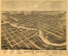 A4 Reprint of American Cities Towns States Map South Bend Indiana